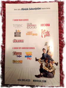 2014/2015 Mirvish Subscription